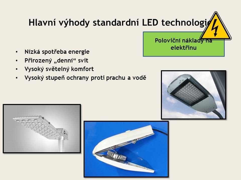 """Hlavní výhody standardní LED technologie Nízká spotřeba energie Přirozený """"denní"""" svit Vysoký světelný komfort Vysoký stupeň ochrany proti prachu a vo"""