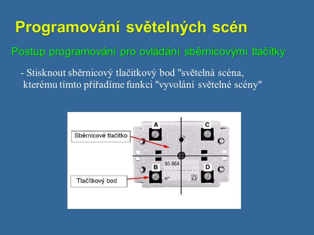 Programování světelných scén Programování světelných scén Postup programování pro ovládání sběrnicovými tlačítky - Stisknout sběrnicový tlačitkový bod světelná scéna, kterému tímto přiřadíme funkci vyvolání světelné scény