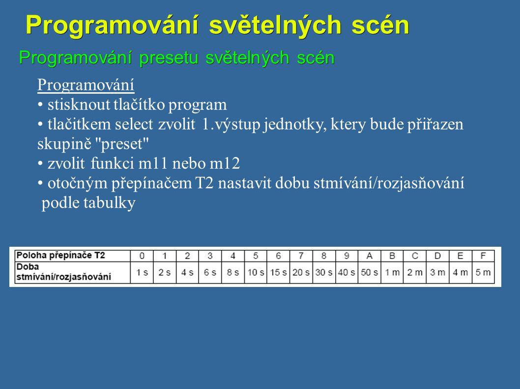 Programování světelných scén Programování světelných scén Programování presetu světelných scén Programování stisknout tlačítko program tlačitkem select zvolit 1.výstup jednotky, ktery bude přiřazen skupině preset zvolit funkci m11 nebo m12 otočným přepínačem T2 nastavit dobu stmívání/rozjasňování podle tabulky