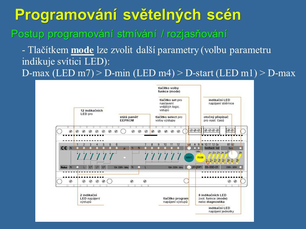 Programování světelných scén Programování světelných scén Postup programování stmívání / rozjasňování - Tlačítkem mode lze zvolit další parametry (volbu parametru indikuje svítici LED): D-max (LED m7) > D-min (LED m4) > D-start (LED m1) > D-max