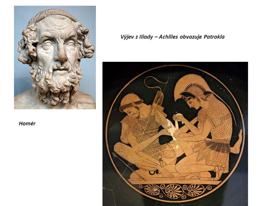 Homér Výjev z Iliady – Achilles obvazuje Patrokla
