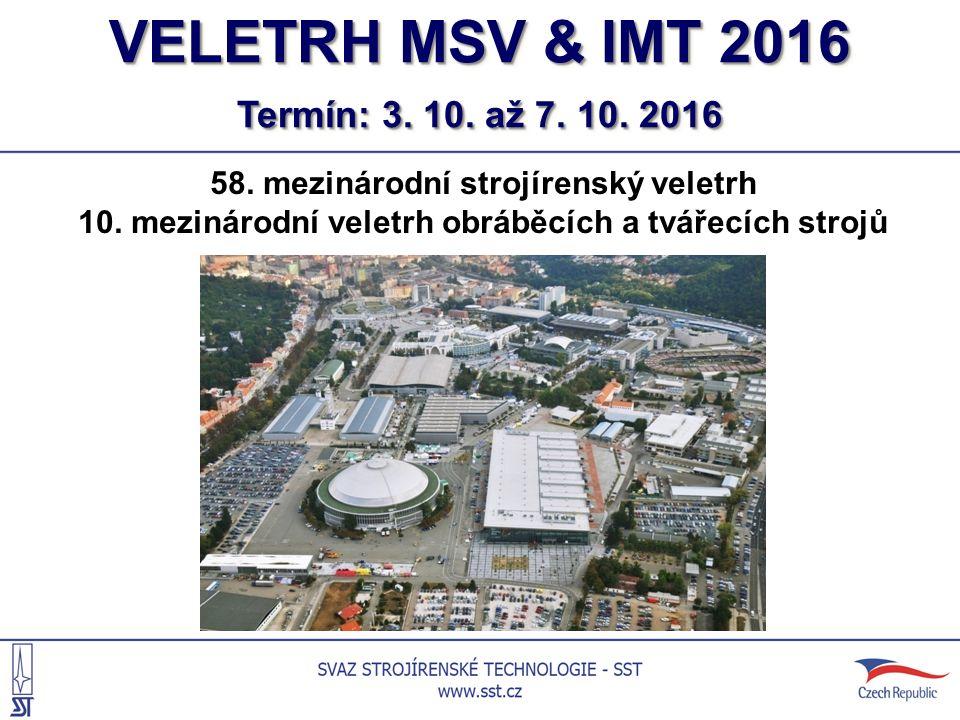VELETRH MSV & IMT 2016 Termín: 3. 10. až 7. 10.