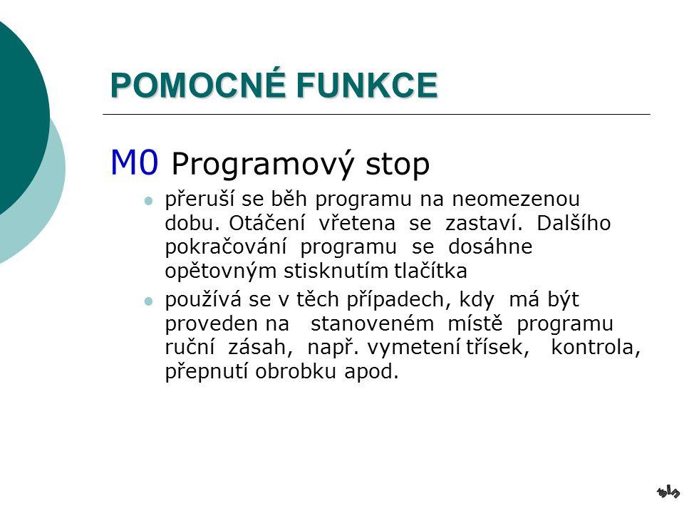 POMOCNÉ FUNKCE M0 Programový stop přeruší se běh programu na neomezenou dobu.