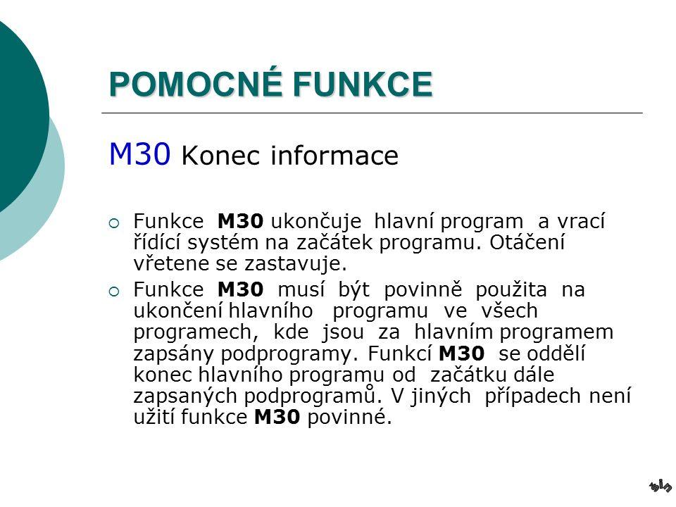 POMOCNÉ FUNKCE M30 Konec informace  Funkce M30 ukončuje hlavní program a vrací řídící systém na začátek programu.