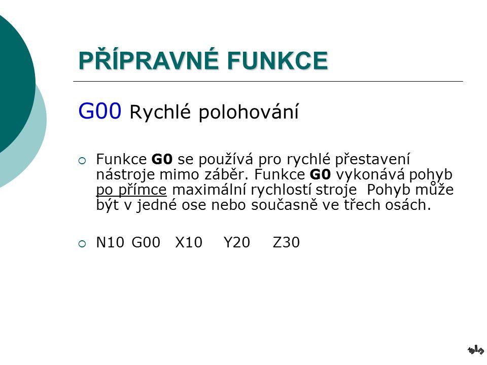 PŘÍPRAVNÉ FUNKCE G00 Rychlé polohování  Funkce G0 se používá pro rychlé přestavení nástroje mimo záběr.
