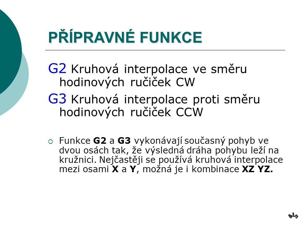 PŘÍPRAVNÉ FUNKCE G2 Kruhová interpolace ve směru hodinových ručiček CW G3 Kruhová interpolace proti směru hodinových ručiček CCW  Funkce G2 a G3 vykonávají současný pohyb ve dvou osách tak, že výsledná dráha pohybu leží na kružnici.
