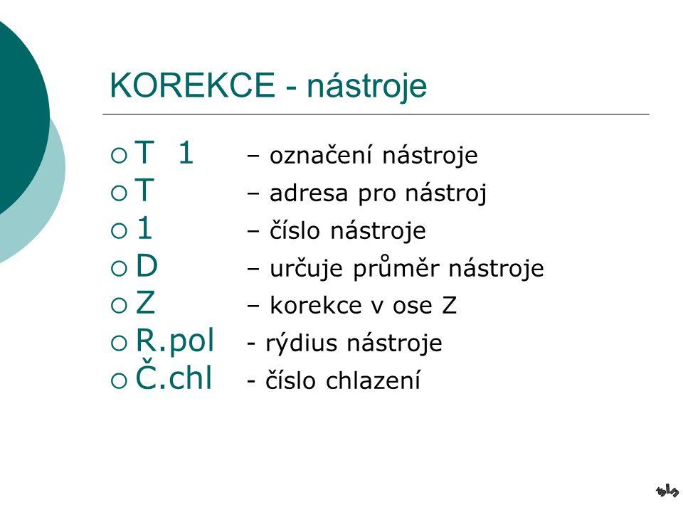 KOREKCE - nástroje TT 1 – označení nástroje TT – adresa pro nástroj 11 – číslo nástroje DD – určuje průměr nástroje ZZ – korekce v ose Z RR.pol - rýdius nástroje ČČ.chl - číslo chlazení