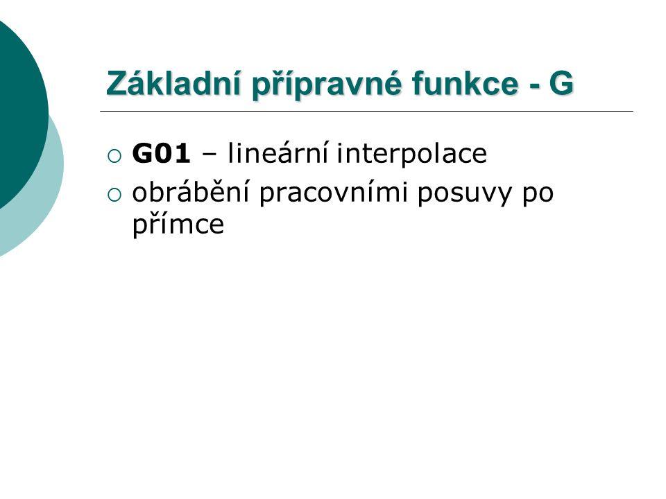 Základní přípravné funkce - G  G01 – lineární interpolace  obrábění pracovními posuvy po přímce