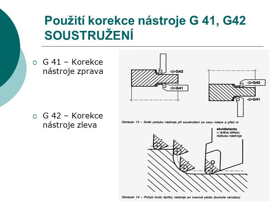 Použití korekce nástroje G 41, G42 SOUSTRUŽENÍ  G 41 – Korekce nástroje zprava  G 42 – Korekce nástroje zleva