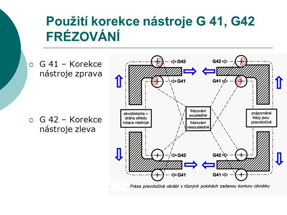 Použití korekce nástroje G 41, G42 FRÉZOVÁNÍ  G 41 – Korekce nástroje zprava  G 42 – Korekce nástroje zleva