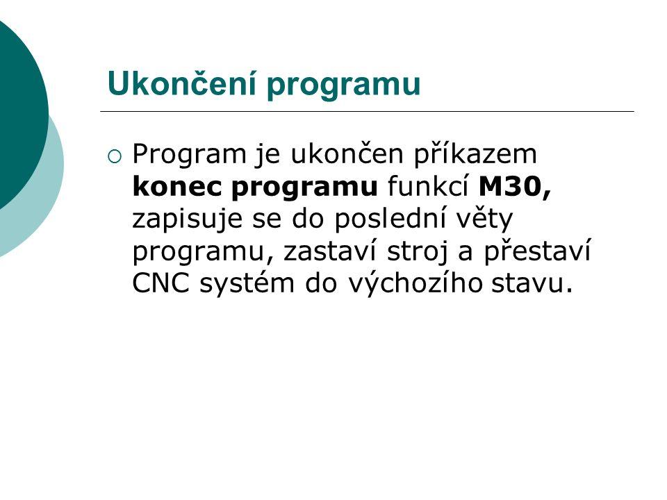 Ukončení programu  Program je ukončen příkazem konec programu funkcí M30, zapisuje se do poslední věty programu, zastaví stroj a přestaví CNC systém do výchozího stavu.