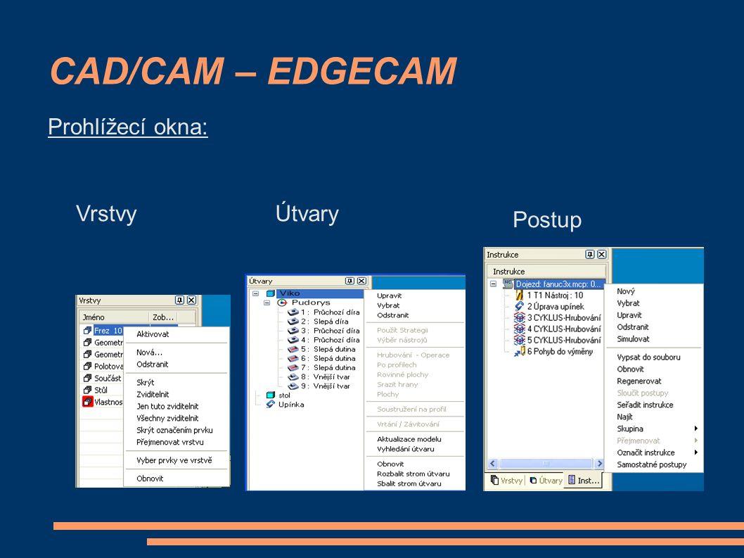CAD/CAM – EDGECAM VrstvyÚtvary Postup Prohlížecí okna: