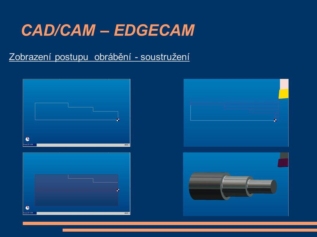 CAD/CAM – EDGECAM Zobrazení postupu obrábění - soustružení