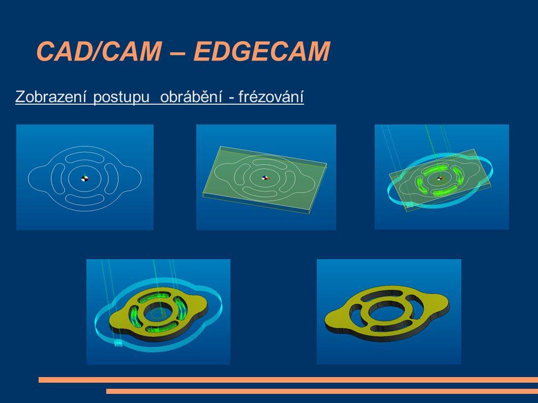 CAD/CAM – EDGECAM Zobrazení postupu obrábění - frézování