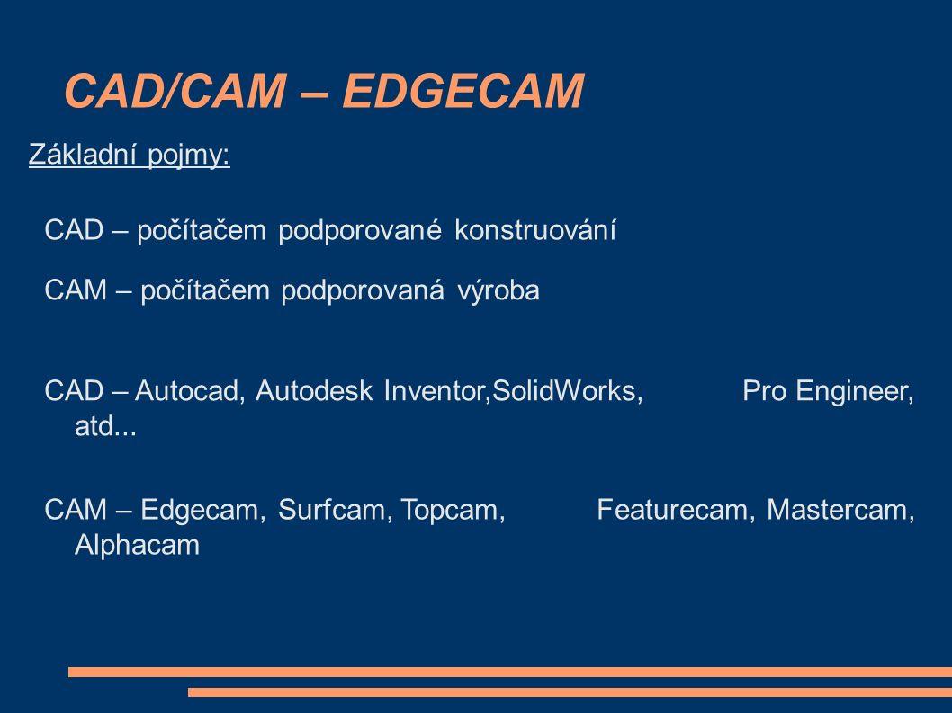 CAD/CAM – EDGECAM Základní pojmy: CAD – počítačem podporované konstruování CAM – počítačem podporovaná výroba CAD – Autocad, Autodesk Inventor,SolidWorks, Pro Engineer, atd...