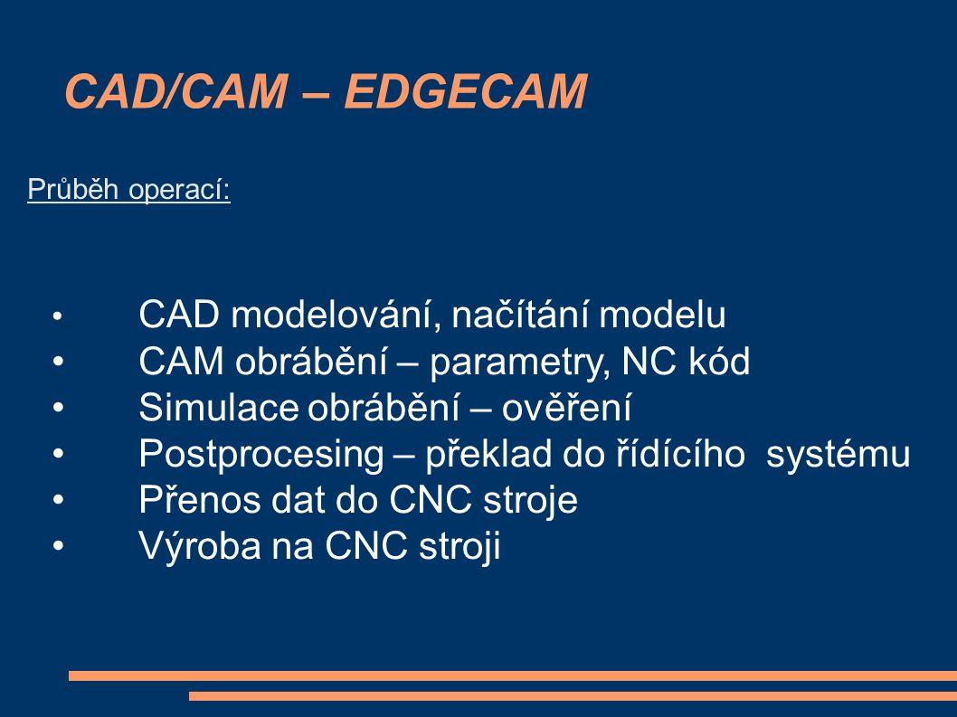CAD/CAM – EDGECAM Průběh operací: CAD modelování, načítání modelu CAM obrábění – parametry, NC kód Simulace obrábění – ověření Postprocesing – překlad do řídícího systému Přenos dat do CNC stroje Výroba na CNC stroji