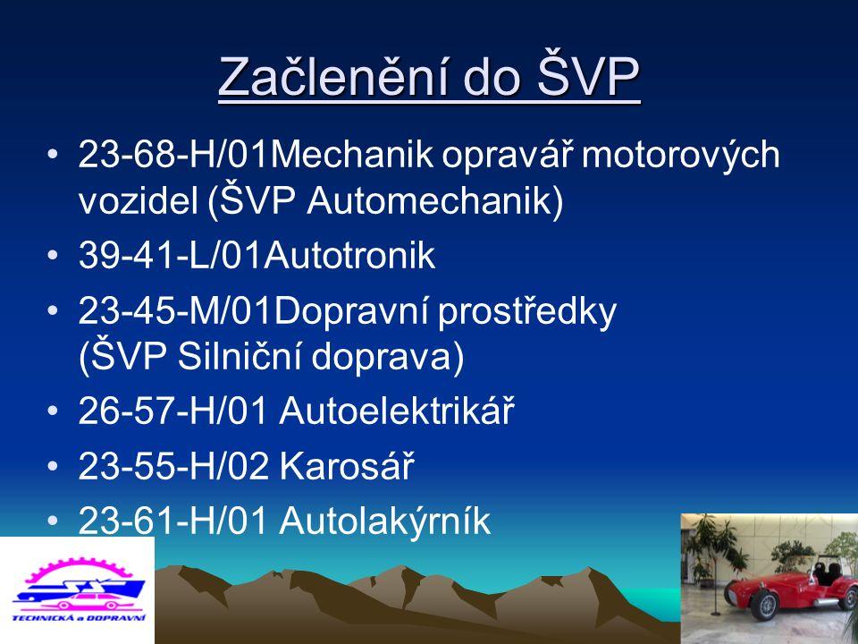 Začlenění do ŠVP 23-68-H/01Mechanik opravář motorových vozidel (ŠVP Automechanik) 39-41-L/01Autotronik 23-45-M/01Dopravní prostředky (ŠVP Silniční dop