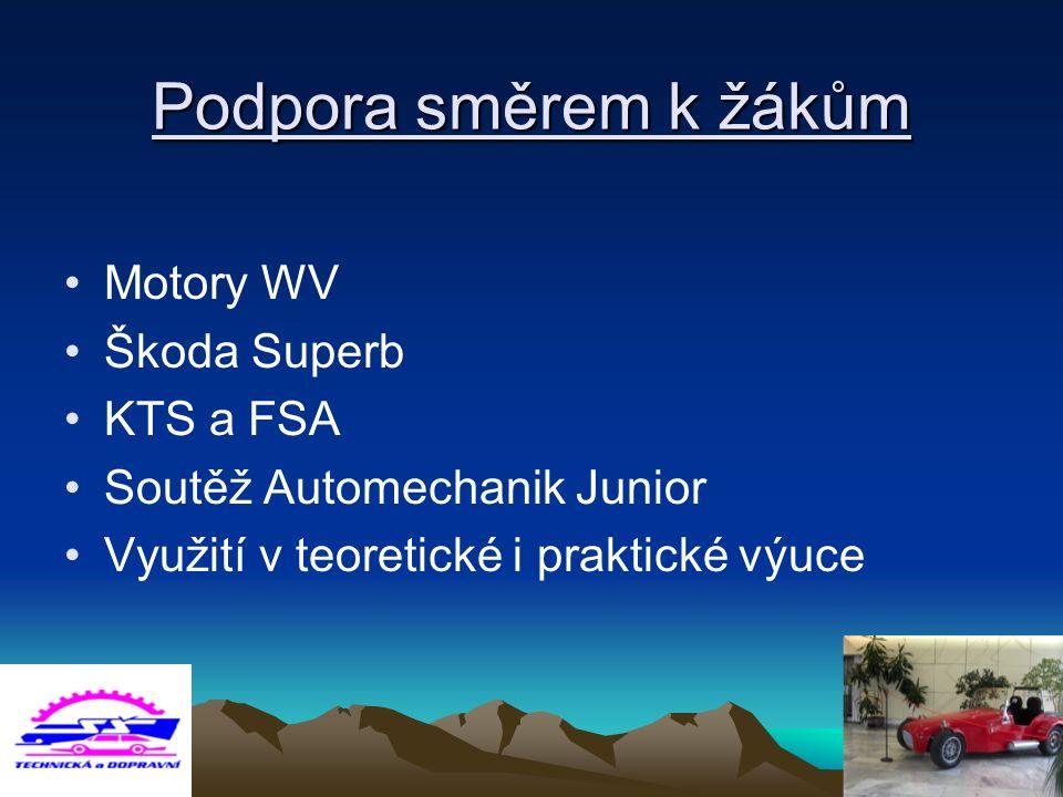 Podpora směrem k žákům Motory WV Škoda Superb KTS a FSA Soutěž Automechanik Junior Využití v teoretické i praktické výuce