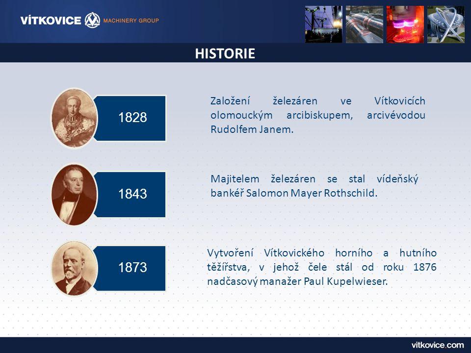 HISTORIE 1828 1843 1873 Založení železáren ve Vítkovicích olomouckým arcibiskupem, arcivévodou Rudolfem Janem. Majitelem železáren se stal vídeňský ba
