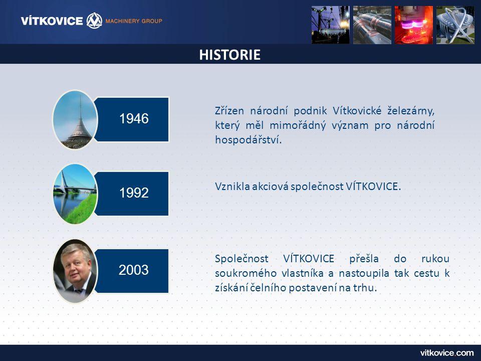 HISTORIE Zřízen národní podnik Vítkovické železárny, který měl mimořádný význam pro národní hospodářství. 1946 1992 2003 Vznikla akciová společnost VÍ