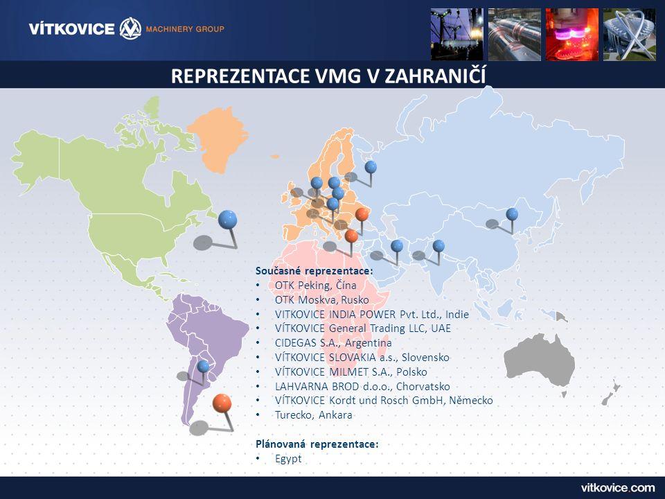 REPREZENTACE VMG V ZAHRANIČÍ Současné reprezentace: OTK Peking, Čína OTK Moskva, Rusko VITKOVICE INDIA POWER Pvt.
