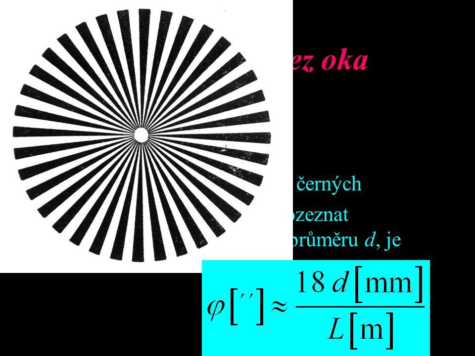 Rozlišovací mez oka Kruhová plocha testu: 72 stejných výsečí bílých a černých Nelze-li ze vzdálenosti L rozeznat hvězdicovitý tvar obrázku průměru d,