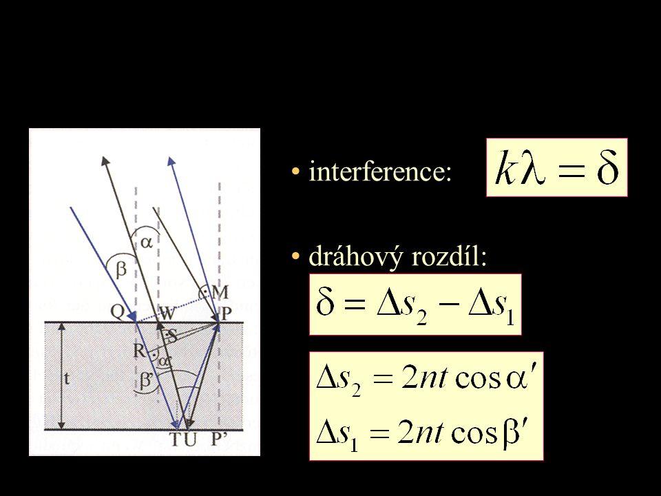 interference: dráhový rozdíl: