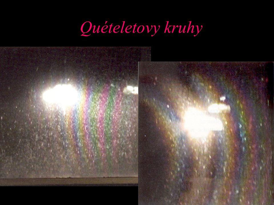 Quételetovy kruhy Shrnutí: vznik – na znečistěné okenní tabulce, na zaprášeném zrcadle nebo pylem zanesené vodní hladině + silný zdroj světla. GO – lo