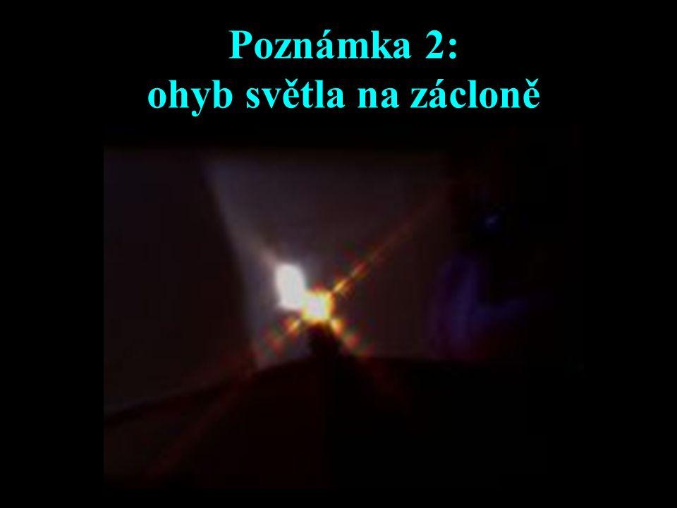 Poznámka 2: ohyb světla na zácloně