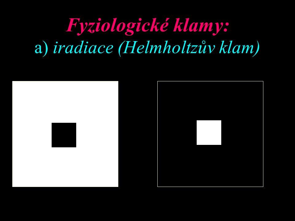 Fyziologické klamy: a) iradiace (Helmholtzův klam)