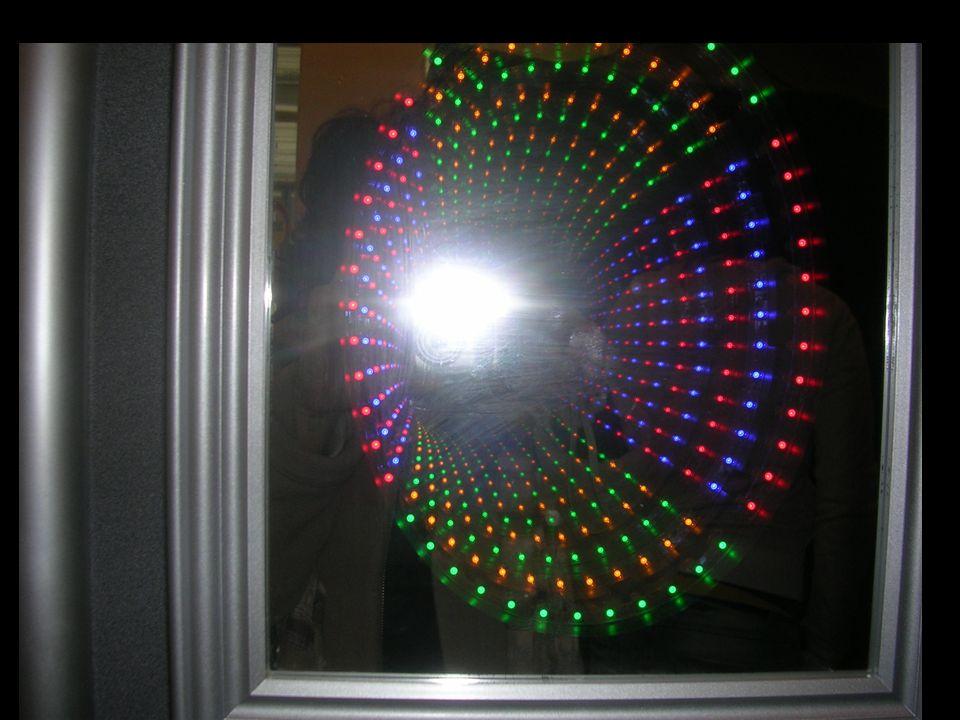 světelný tunel vpředu – polopropustné zrcadlo, za ním jsou do kruhu sestaveny pestrobarevné diody, iluzi světelného tunelu vytváří další zrcadlo na za