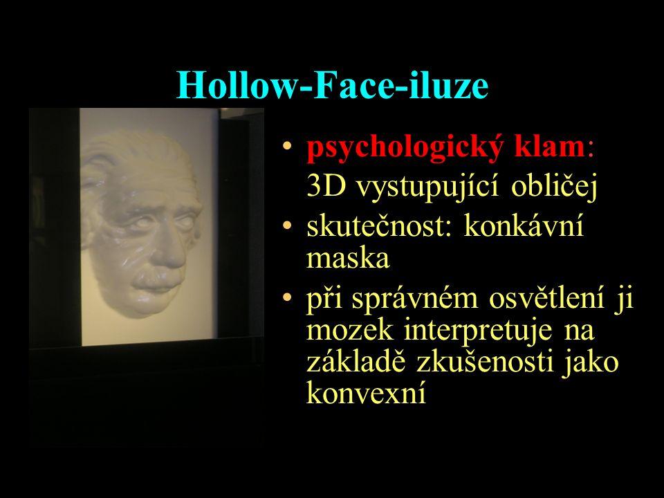 Hollow-Face-iluze psychologický klam: 3D vystupující obličej skutečnost: konkávní maska při správném osvětlení ji mozek interpretuje na základě zkušen