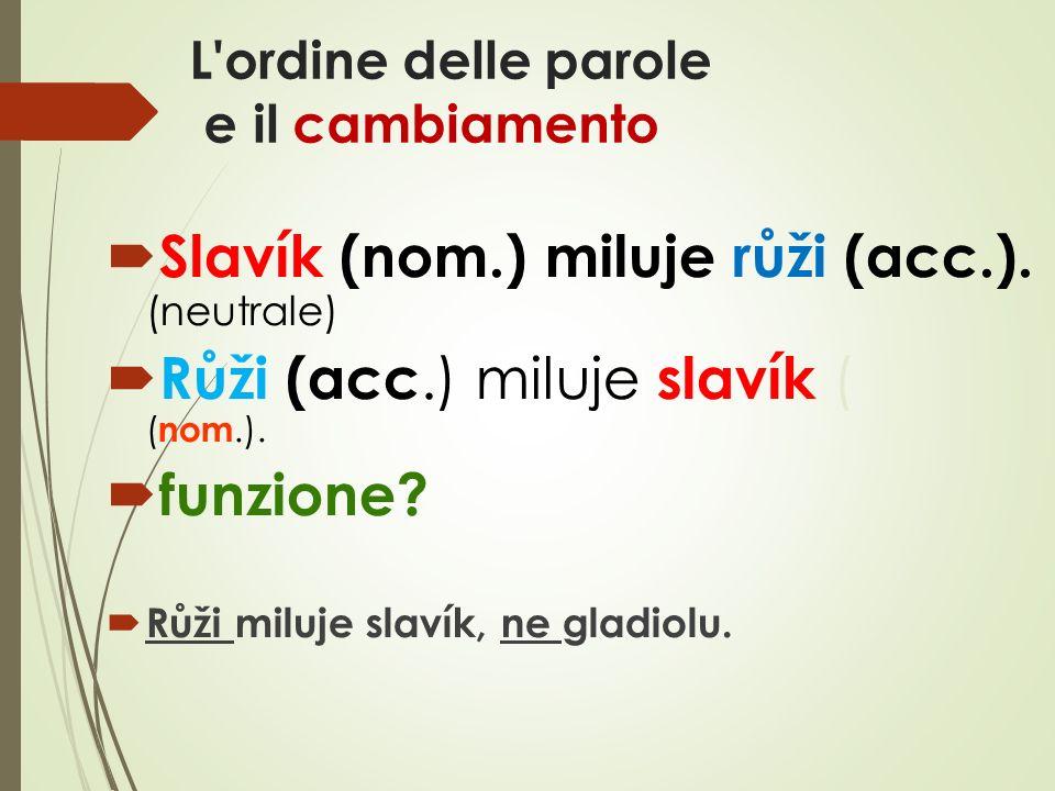 L ordine delle parole e il cambiamento  Slavík (nom.) miluje růži (acc.).