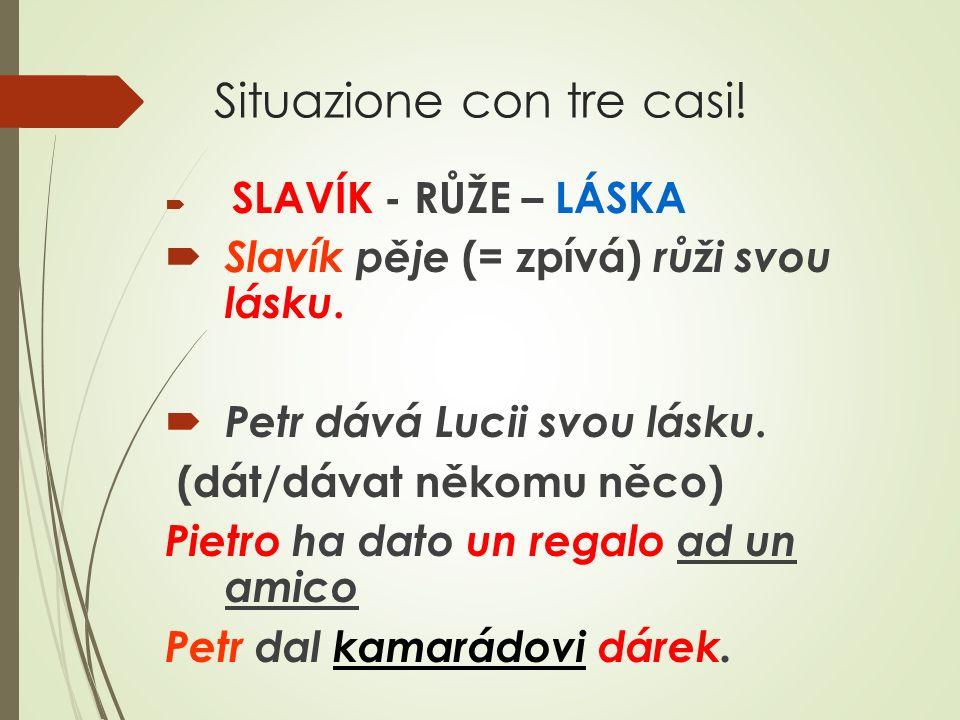 Situazione con tre casi.  SLAVÍK - RŮŽE – LÁSKA  Slavík pěje (= zpívá) růži svou lásku.