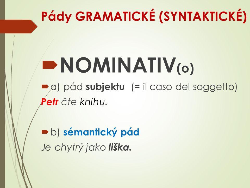 Pády GRAMATICKÉ (SYNTAKTICKÉ)  NOMINATIV (o)  a) pád subjektu (= il caso del soggetto) Petr čte knihu.