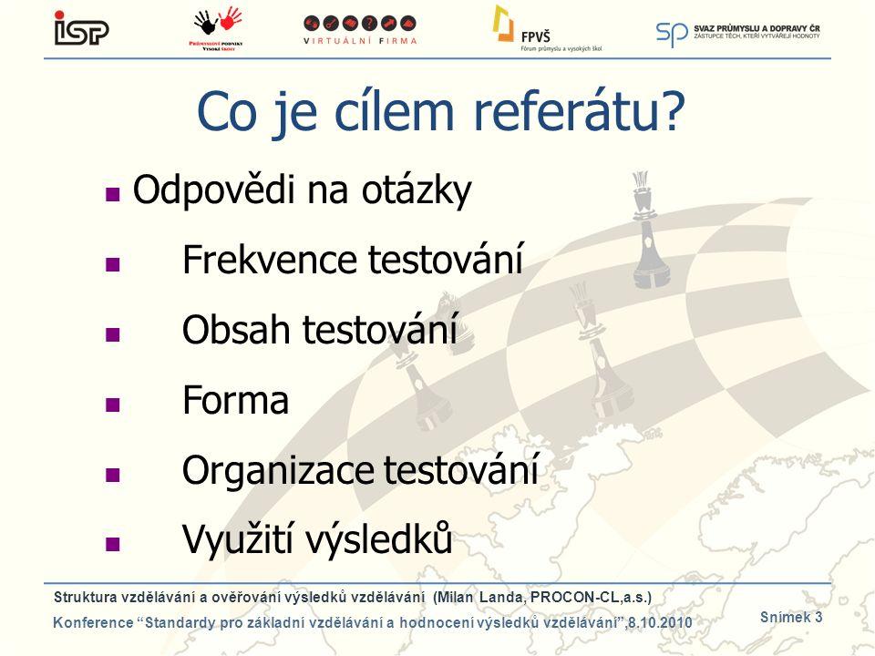 Snímek 3 Co je cílem referátu? Odpovědi na otázky Frekvence testování Obsah testování Forma Organizace testování Využití výsledků Struktura vzdělávání