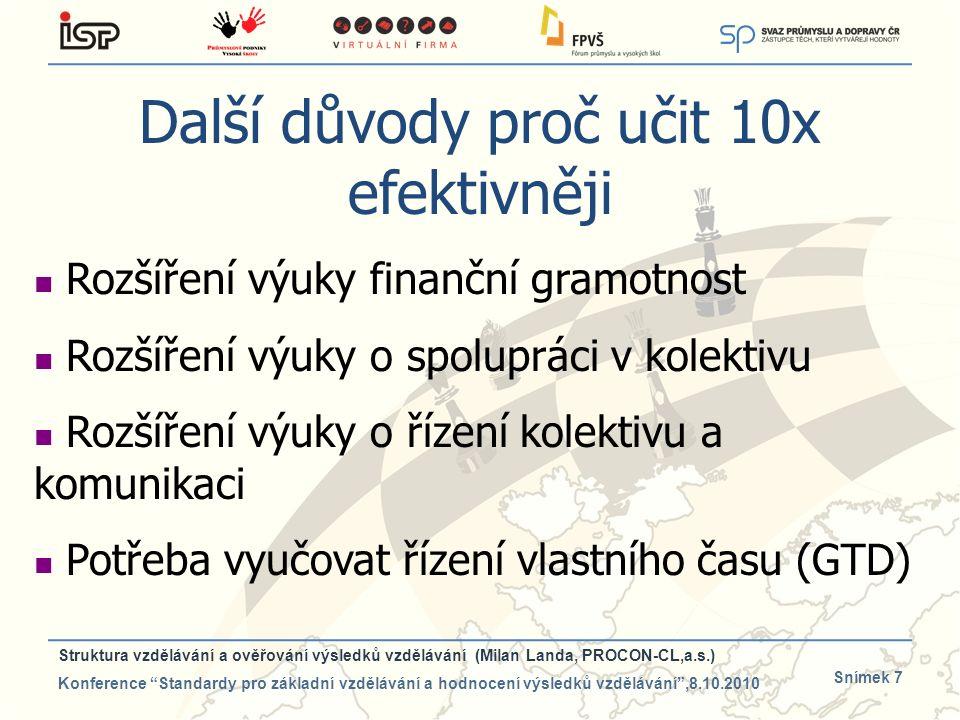 Snímek 7 Další důvody proč učit 10x efektivněji Rozšíření výuky finanční gramotnost Rozšíření výuky o spolupráci v kolektivu Rozšíření výuky o řízení