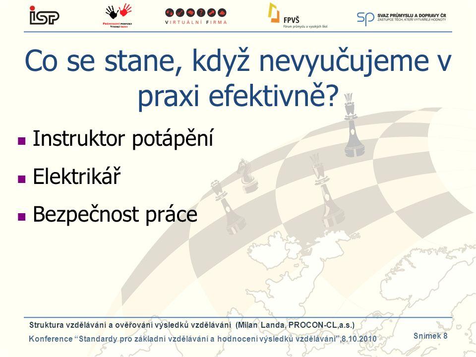 Snímek 8 Co se stane, když nevyučujeme v praxi efektivně? Instruktor potápění Elektrikář Bezpečnost práce Struktura vzdělávání a ověřování výsledků vz
