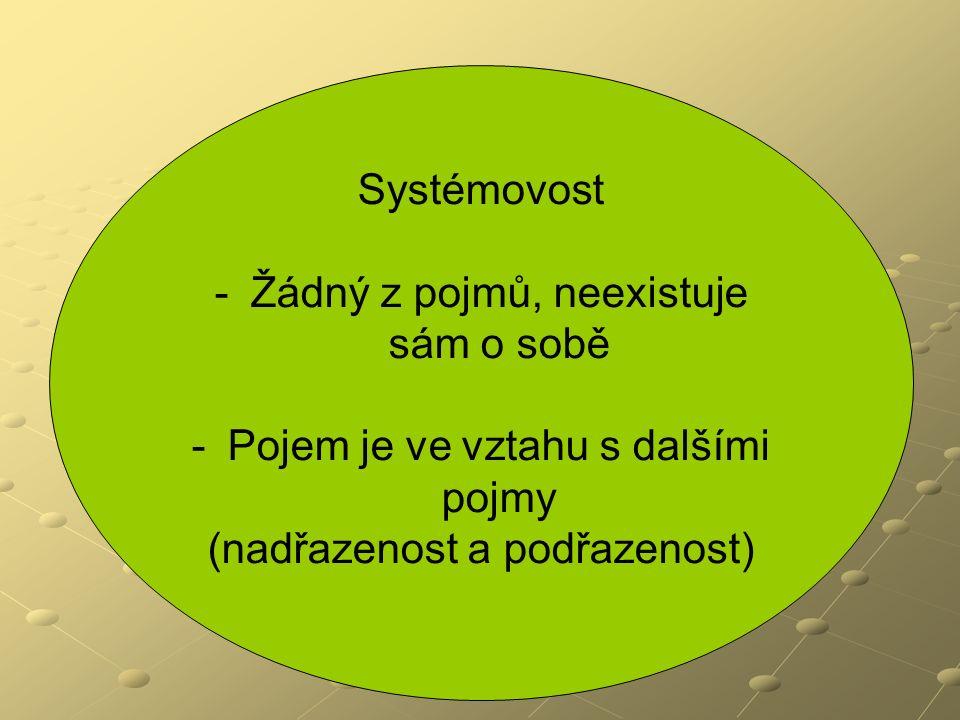 Systémovost - -Žádný z pojmů, neexistuje sám o sobě - -Pojem je ve vztahu s dalšími pojmy (nadřazenost a podřazenost)