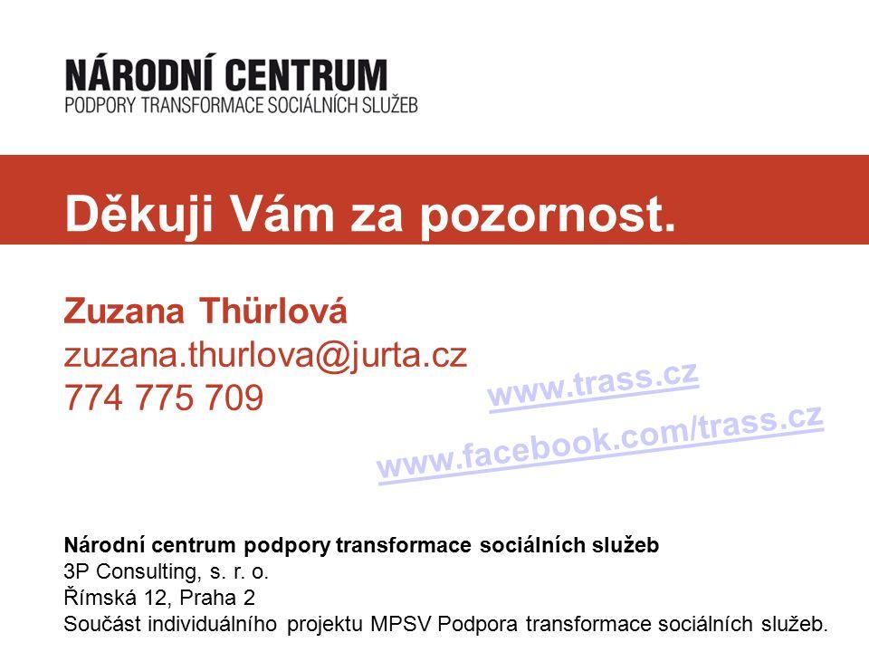 Děkuji Vám za pozornost. Zuzana Thürlová zuzana.thurlova@jurta.cz 774 775 709 Národní centrum podpory transformace sociálních služeb 3P Consulting, s.