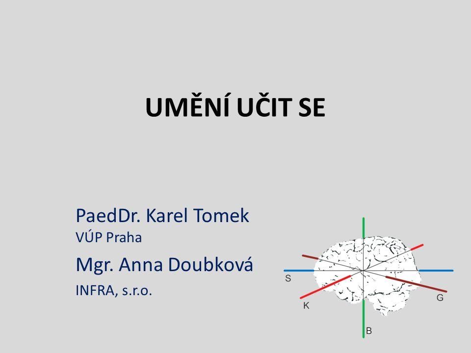 UMĚNÍ UČIT SE PaedDr. Karel Tomek VÚP Praha Mgr. Anna Doubková INFRA, s.r.o.