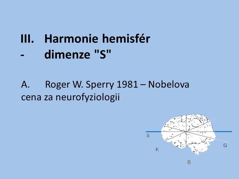 III.Harmonie hemisfér -dimenze S A.Roger W. Sperry 1981 – Nobelova cena za neurofyziologii