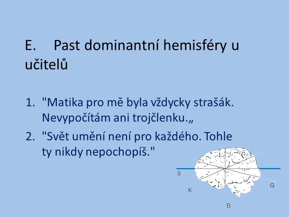 E.Past dominantní hemisféry u učitelů 1. Matika pro mě byla vždycky strašák.