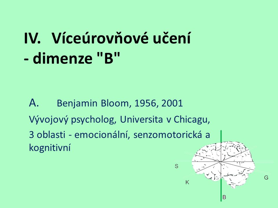 IV.Víceúrovňové učení - dimenze B A.