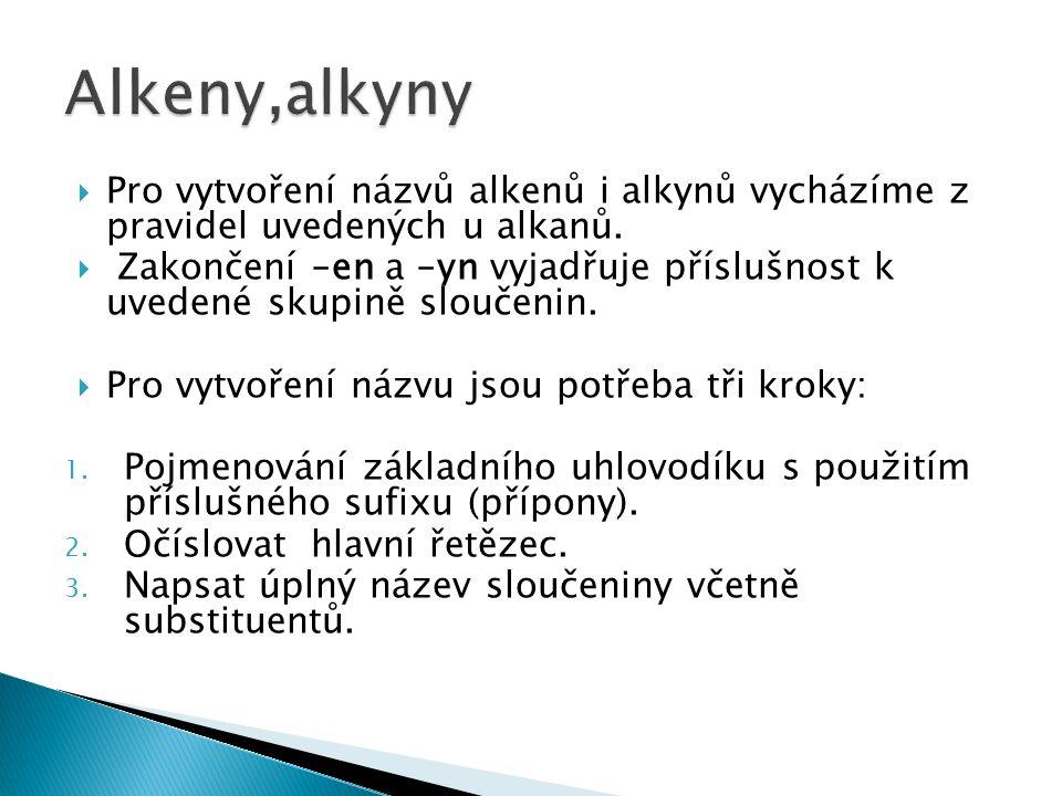  Pro vytvoření názvů alkenů i alkynů vycházíme z pravidel uvedených u alkanů.  Zakončení –en a –yn vyjadřuje příslušnost k uvedené skupině sloučenin