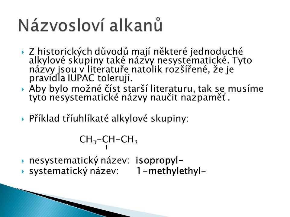  Z historických důvodů mají některé jednoduché alkylové skupiny také názvy nesystematické.