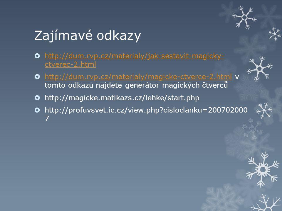 Zajímavé odkazy  http://dum.rvp.cz/materialy/jak-sestavit-magicky- ctverec-2.html http://dum.rvp.cz/materialy/jak-sestavit-magicky- ctverec-2.html  http://dum.rvp.cz/materialy/magicke-ctverce-2.html v tomto odkazu najdete generátor magických čtverců http://dum.rvp.cz/materialy/magicke-ctverce-2.html  http://magicke.matikazs.cz/lehke/start.php  http://profuvsvet.ic.cz/view.php cisloclanku=200702000 7