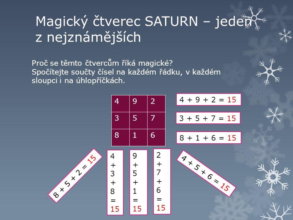 Magický čtverec SATURN – jeden z nejznámějších Proč se těmto čtvercům říká magické.