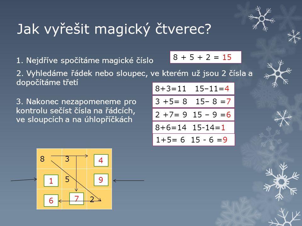 Jak vyřešit magický čtverec. 83 5 2 1. Nejdříve spočítáme magické číslo 8 + 5 + 2 = 15 2.