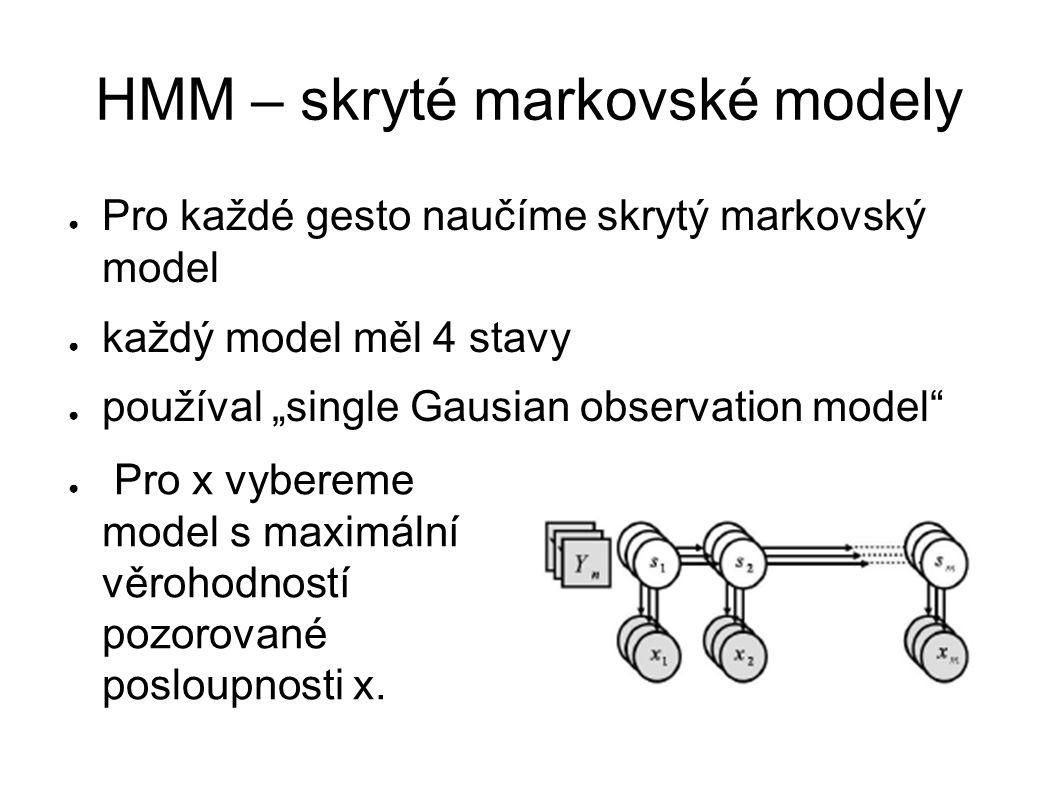 """HMM – skryté markovské modely ● Pro každé gesto naučíme skrytý markovský model ● každý model měl 4 stavy ● používal """"single Gausian observation model ● Pro x vybereme model s maximální věrohodností pozorované posloupnosti x."""